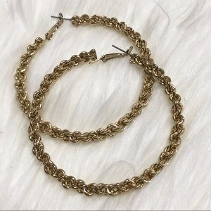 Express Gold Twisted Chain Link Hoop Earrings
